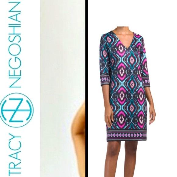 🆕 Tracy Negoshian 3/4 Sleeve Jersey Shift Dress